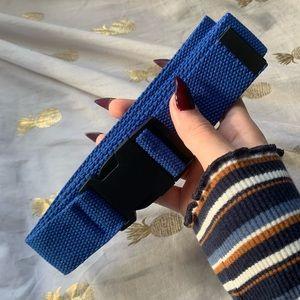 blue canvas hype black buckle belt